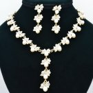 Gold Tone Faux Pearl Leaf Necklace Earring Set Rhinestone Crystal for Women 0956