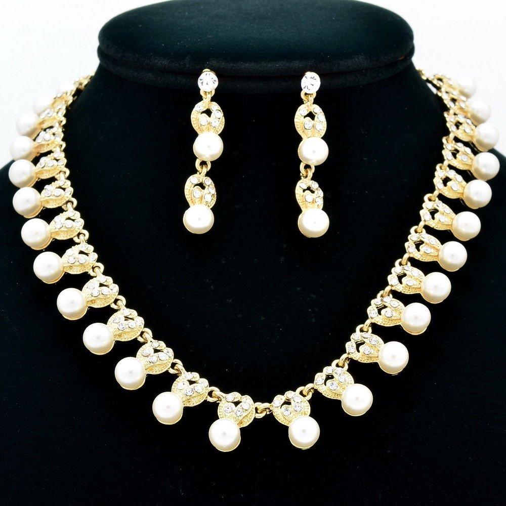 Wedding Bridal Faux Pearl Necklace Earring Set Rhinestone Crystal Gold Tone 0958
