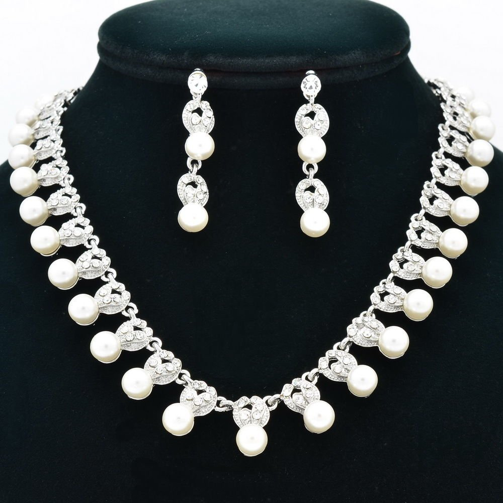 Wedding Faux Pearl Flower Necklace Earring Set Bridal Rhinestone Crystals 0958