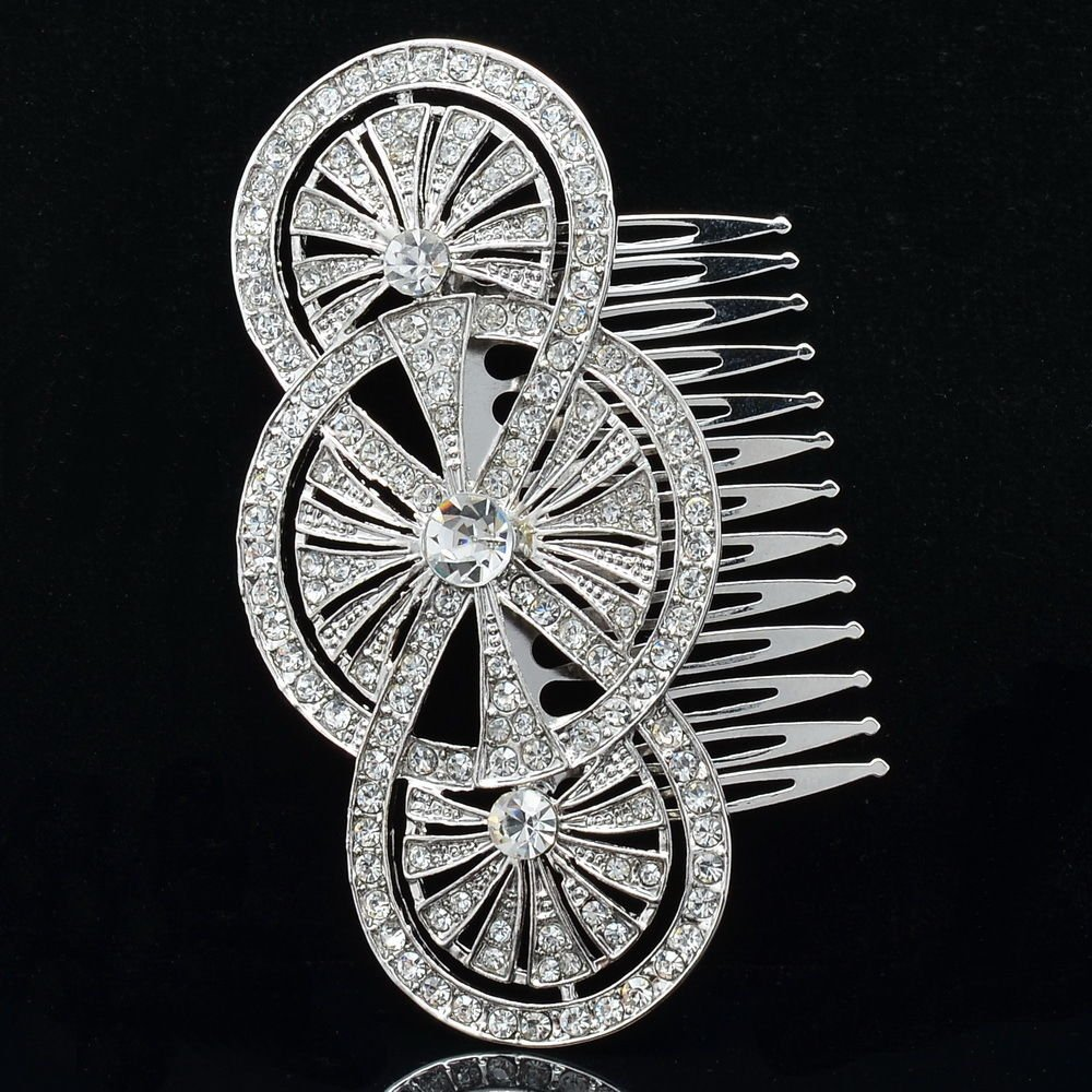 Bride Rhinestone Crystals Clear Triple Round Hair Comb Headband for Women XBY067