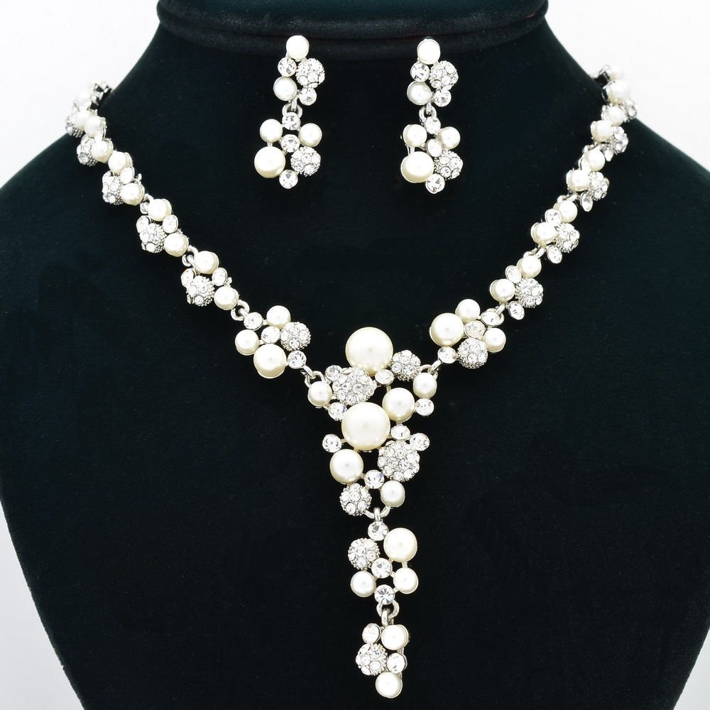 Bridal Rhinestone Crystals Faux Pearl Flower Necklace Earring Sets Jewelry 0954