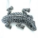 Crocodile Alligator Bracelet Bangle Cuff Black Rhinestone Crystal