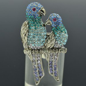 H-Quality Vintage Swarovski Crystals Bird Blue Parrot Cocktail Ring Adjustable