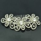 Smart Bridal Prom Jewelry Cute Clear Flower Hair Comb Rhinestone Crystal FA3239