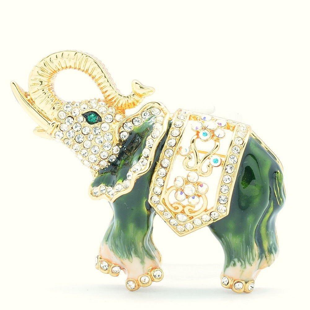 Dazzling Green Elephant Brooch Broach Pins Enamel Swarovski Crystal SBA4509