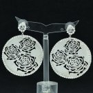 Super Clear Circle Cutout Pierced Earring Rhinestone Crystal Women Jewelry 27699