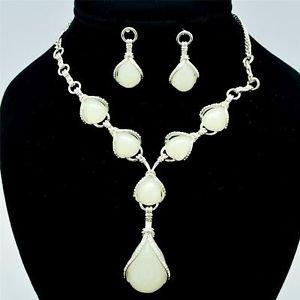 Wedding Tear Drop White Resin Opal Necklace Earring Set Rhinestone Crystal 16230