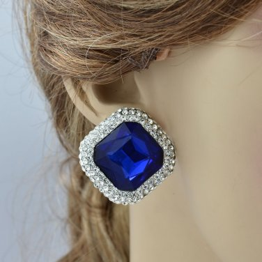 Elegant Blue Rhinestone Crystals Square Teardrop Flower Earring For Women 147822
