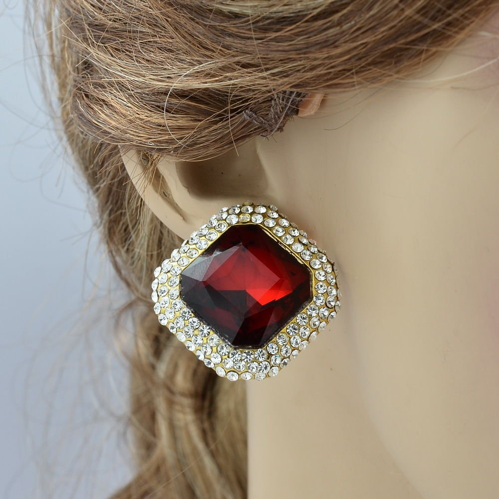 Glaring Red Square Drop Flower Earring Women's Dangle Rhinestone Crystals 147822