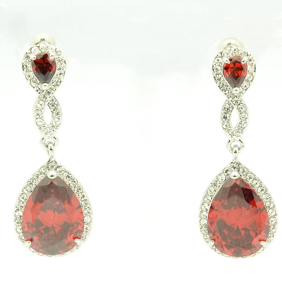 Charming Red Zircon Rhinestone Crystals Dangle Drop Earring For Women 20621