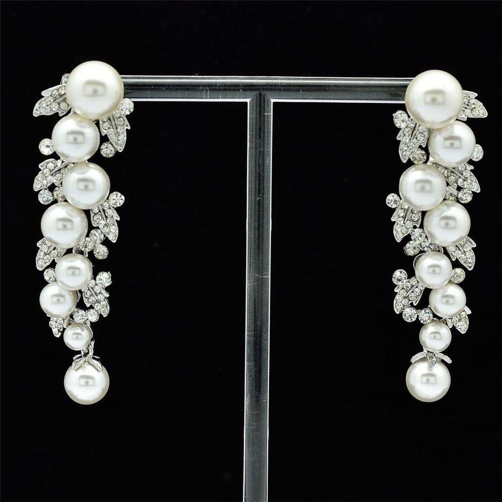 Bridal Faux Pearls Pierced Earrings Rhinestone Crystals Women Jewelry FA2936