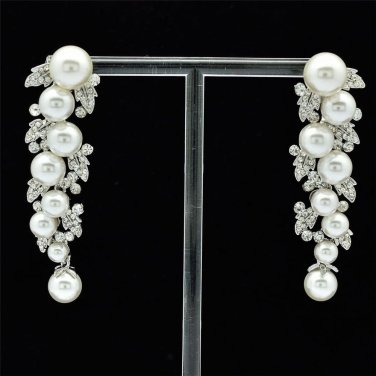 Bridal Faux Pearls Pierced Earrings Rhinestone Crystals Women Jewelry FA2936