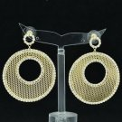 Rhinestone Crystals Gold Round Donut Cutout Pierced Drop Earrings Jewelry 27675
