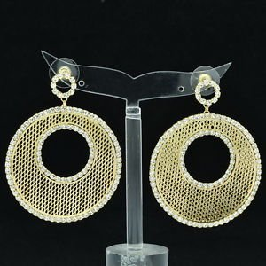 Rhinestone Crystals Gold Round Donut Cutout Pierced Drop Earrings Jewelry 27675