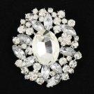 "Bridal Bridesmaid Prom Jewelry Flower Brooch Broach Pin Rhinestone Crystals 2.5"""