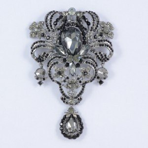 "Vintage Pretty Black Flower Brooch Broach Pins 5.1"" Drop Swarovski Crystals 4042"
