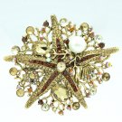 Rhinestone Crystals Women Costume Jewelry Glitzy Brown Starfish Brooch Pins 6412
