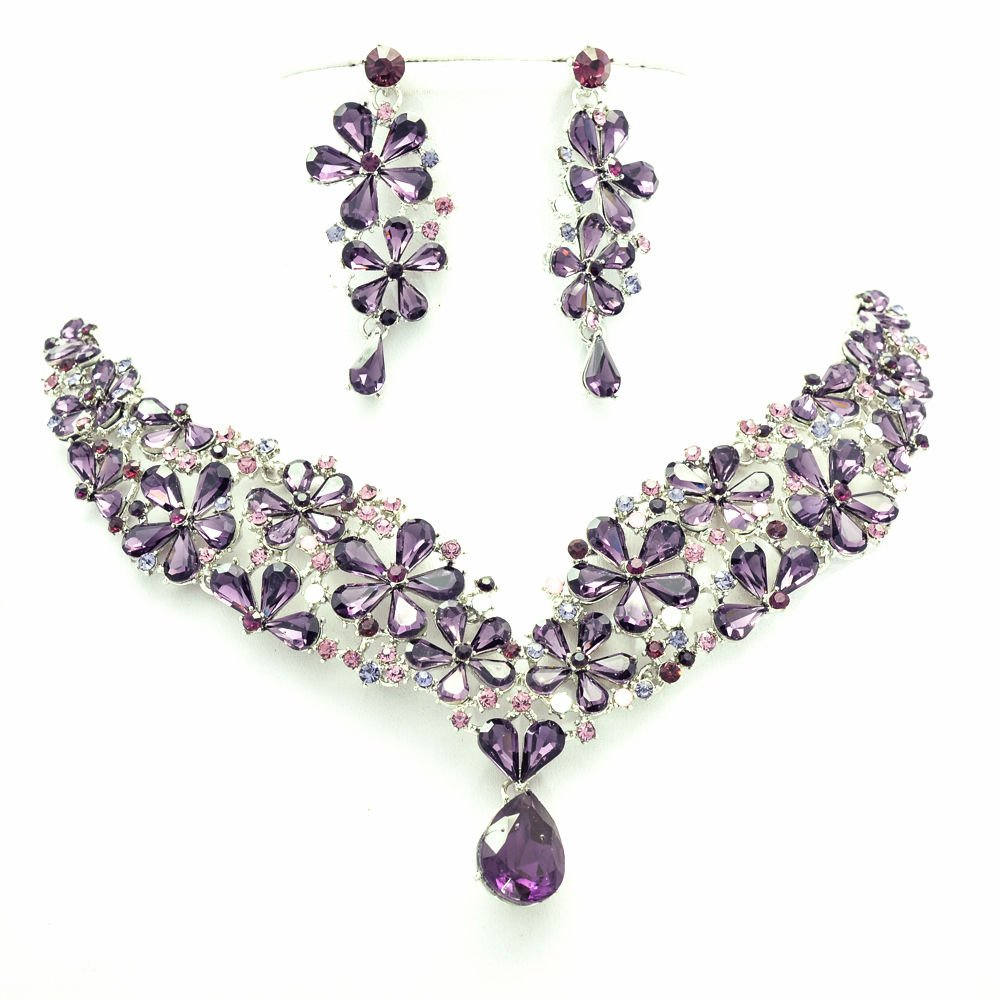 Gorgeous Drop Flower Necklace Earrings Sets Purple Rhinestone Crystal 6098