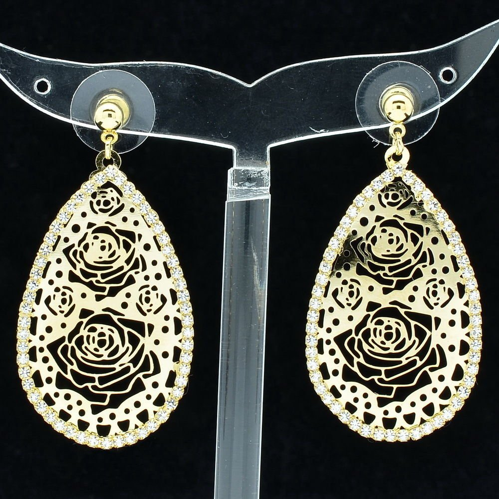 Fashion Dangler Rhinestone Crystal Teardrop Flowers Cutout Pierced Earring 27742