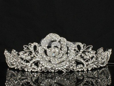 Hot Swarovski Crystals Rose Flower Bridal Tiara Crown for Wedding JHA7721-2
