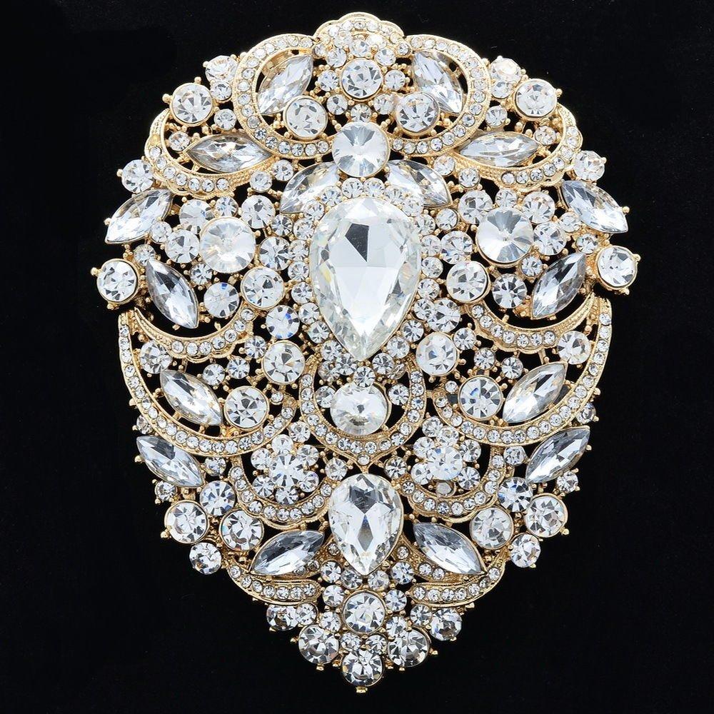 """Gold Tone Clear Rhinestone Crystal Big Drop Flower Brooch Pins Pendant 4.9"""" 4045"""