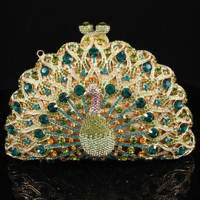 Excellent Green Swarovski Crystals Bird Peacock Clutch Evening Bag Handbag Purse