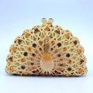 Swarovski Crystals Gold Peafowl Peacock Bird Clutch Evening Purse Handbag Bag