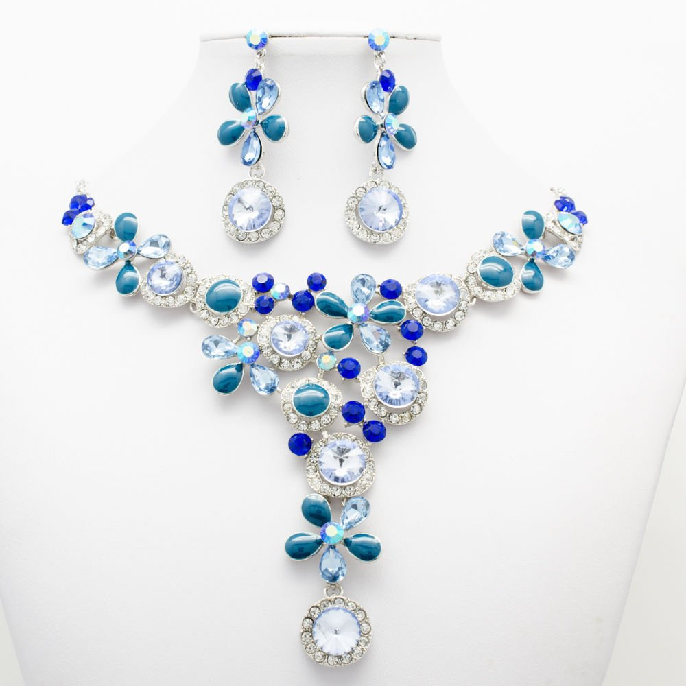 Fabulous Women Jewelry Blue Flower Necklace Earring Set Rhinestone Crystal 02829