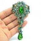 Vintage Style Green Dangle Flower Brooch Pin Pendant Rhinestone Crystal 6177