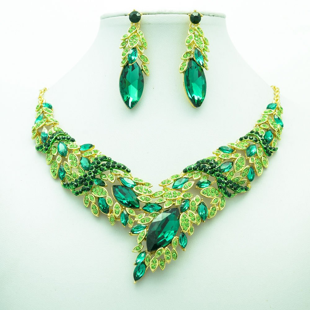 Green Wheat Necklace Earring Set Rhinestone Crystal Girl Prom Party Jewelry 6102