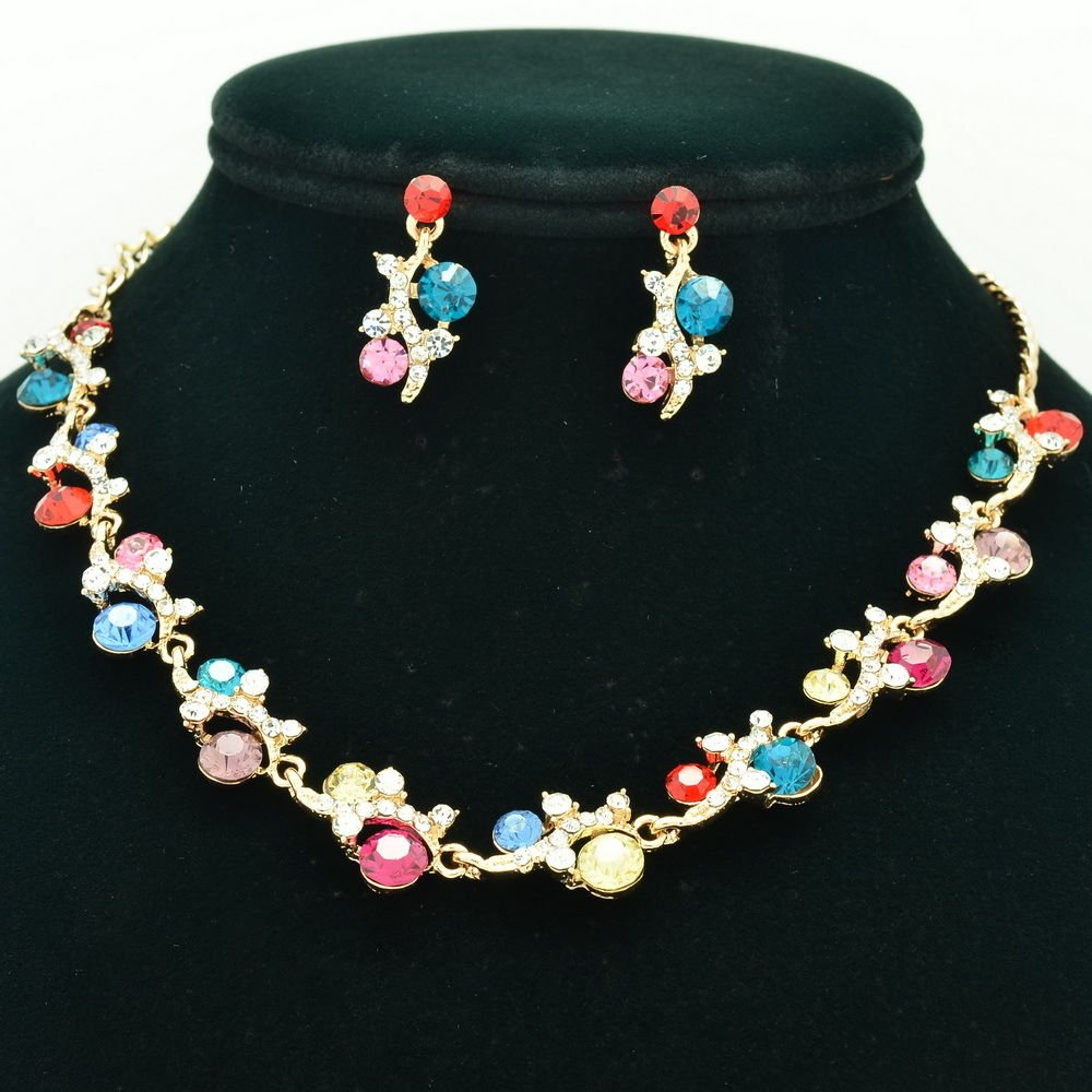 Rhinestone Crystal Multicolor Flower Necklace Earring Set For Spring Jewelry A18
