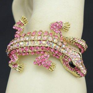 Women Jewelry Animal Crocodile Bracelet Bangles Cuff Pink Rhinestone Crystals