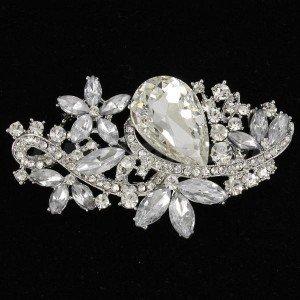 Women Rhinestone Crystals Flower Brooch Broach Pins For Wedding Jewelry 4190