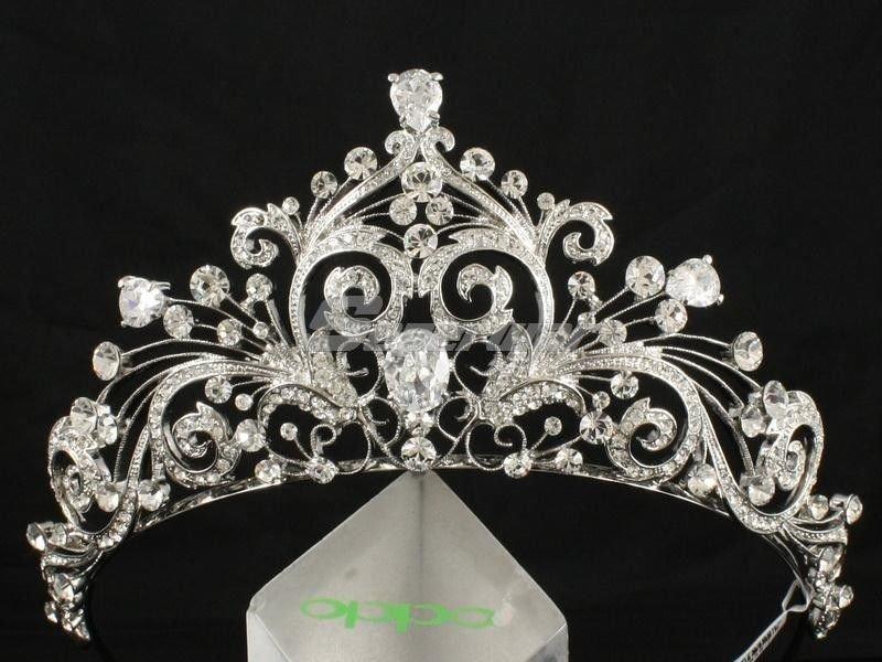 High Quality Wedding Flower Tiara Crown Drop Zircon Swarovski Crystals JHA7858
