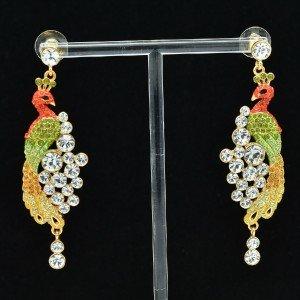 Luxury Peafowl Peacock Pierced Earring Swarovski Crystal Dangle