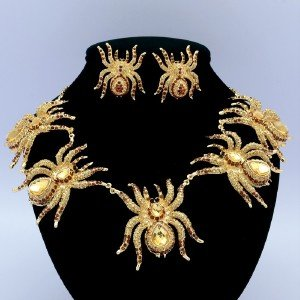 5 Tarantula Spider Necklace Earring Set Insect Brown Rhinestone Crystals