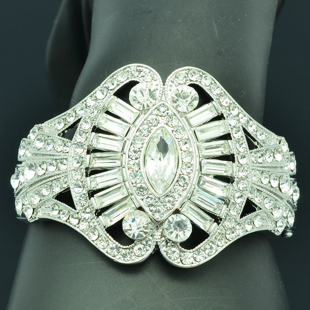 Rhinestone Crystal Silver Tone Flower Bracelet Bangles Cuff Wedding Jewelry 9734