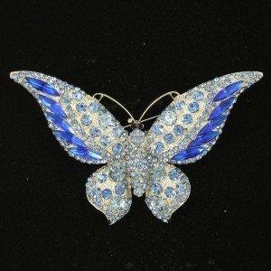 Silver Tone Butterfly Brooch Broach Pin Blue Rhinestone Crystals 4538
