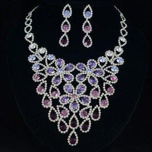 Women Purple Flower Zircon Drop Necklace Earring Jewelry Sets Swarovski Crystal