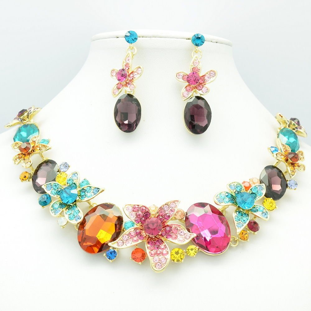 Flawless Oval Leaf Flower Necklace Earrings Set Mix Rhinestone Crystals 5371