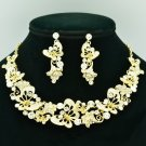 Wedding Flower Butterfly Necklace Earring Sets Clear Rhinestone Crystals 6154