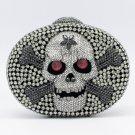 Black Swarovski Crystals Skull Bone Handbags Purse Bags for Women Evening Party