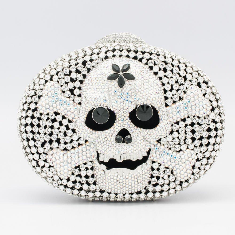 Cool Clear Skull Bone Clutch Handbags Purse Bag Evening Party Swarovski Crystals