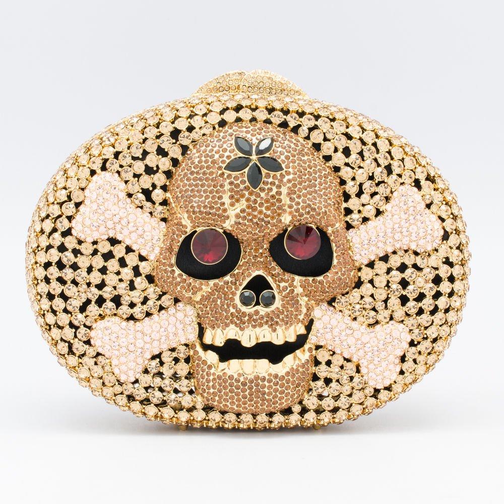 Swarovski Crystals Skull Bone Handbag Purse Bag for Women Evening Party JD1270
