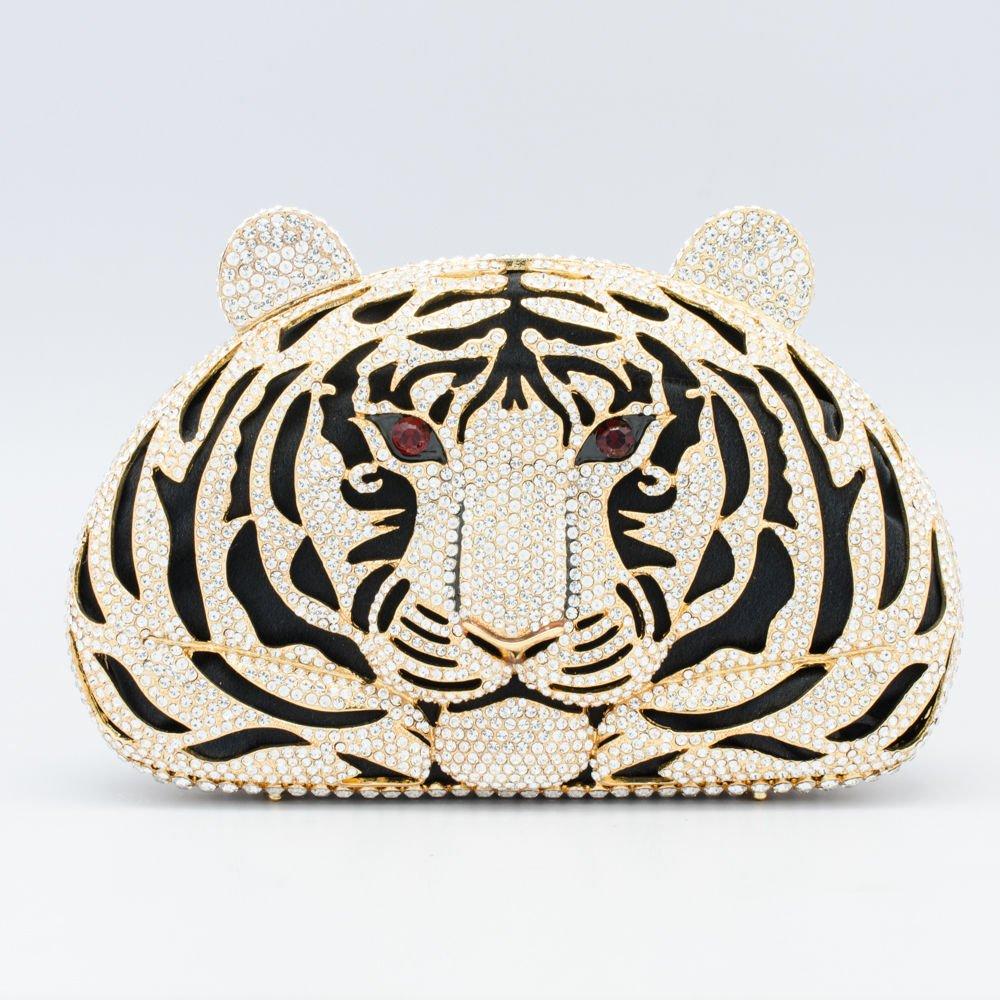 Wonderful Tiger Tigress Clutch Evening Bag Purse Handbag Clear Swarovski Crystal