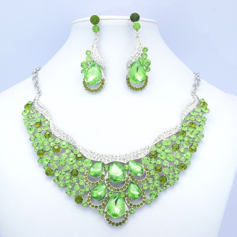Drip Necklace Earring Set Green Rhinestone Crystals Women's Spring Jewelry 02373