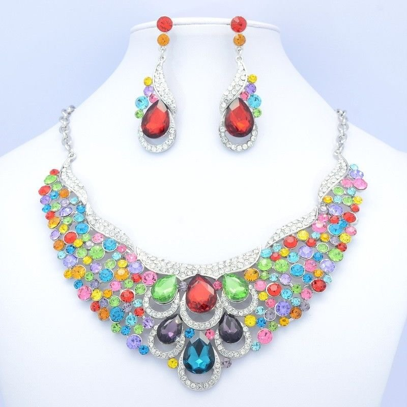 Chic Mix Flower Drop Necklace Earring Set Rhinestone Crystal Women Jewelry 02373