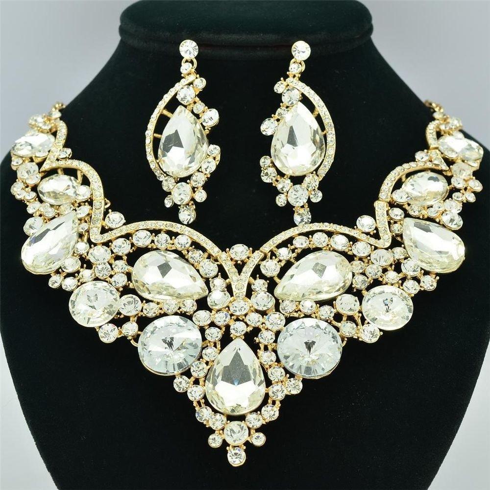 Clear Rhinestone Crystal Flower Teardrop Necklace Earring Set Women Jewelry 2733