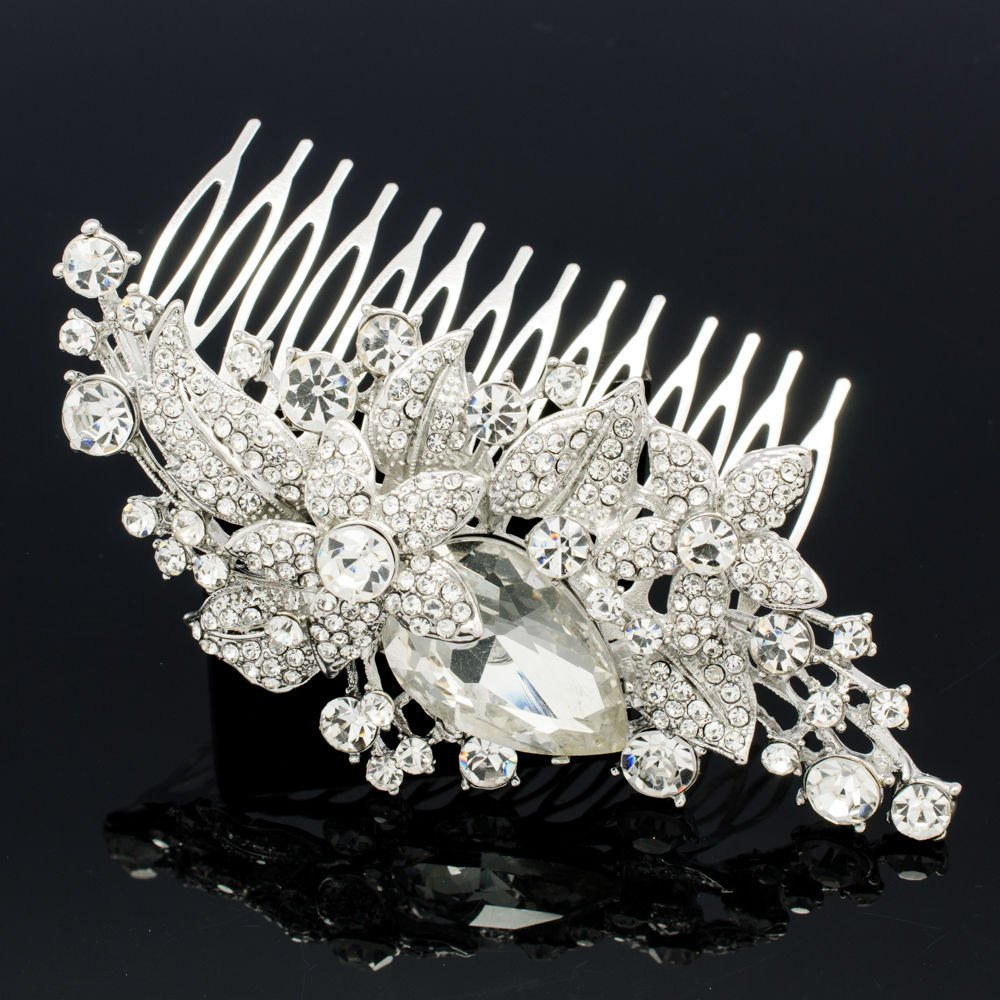 Rhinestone Crystal Women's Jewelry Cluster Leaf Flower Hair Comb Headband 6405FS