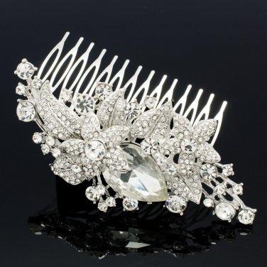 Rhinestone Crystal Women's Jewelry Cluster Leaf Flower Hair Comb Headband 6405FS